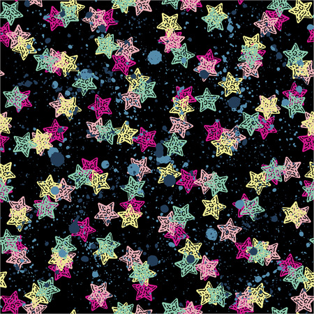 Creative background with stars , geometric figures Funny wallpaper for textile and fabric. Fashion style. Colorful bright Foto de archivo - 97204119
