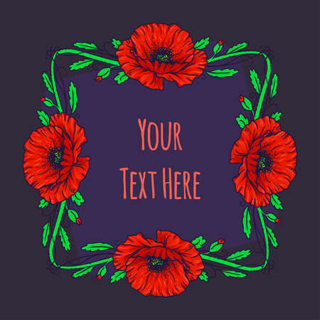 Hand Drawn frame for text with flowers and herbs vintage floral elements. Red and green decore