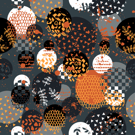 Creative background with dots, geometric figures Funny wallpaper for textile and fabric. Fashion style. Colorful bright Illustration