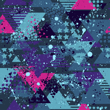 Abstract seamless vector pattern for girls, boys, clothes. Creative background with dots, geometric figures triangle Funny wallpaper for textile and fabric. Fashion style. Colorful bright