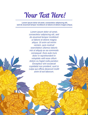 Hand Drawn frame for text with peony flowers and herbs vintage floral elements. Yellow and blue decor on White background