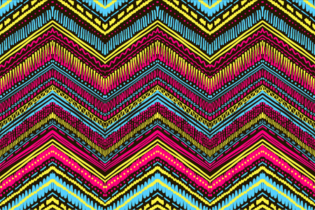 Abstract ikat and boho style handcraft fabric pattern. Traditional ethnic design for clothing and textile background, carpet or wallpaper.