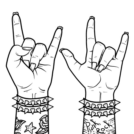 Element for Punk Rock festival poster or halloween party. Rock and Roll zombie hand sign