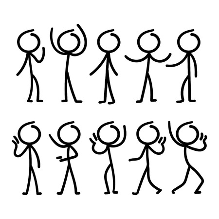 Cartoon doodle stick figure with different pose. Illustration