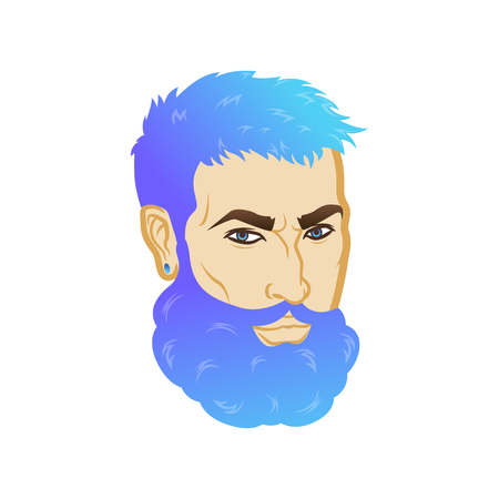 Vector bearded men face profile hipster head with haircuts, mustaches and beards. For Silhouettes or avatars, emblems and icons, labels