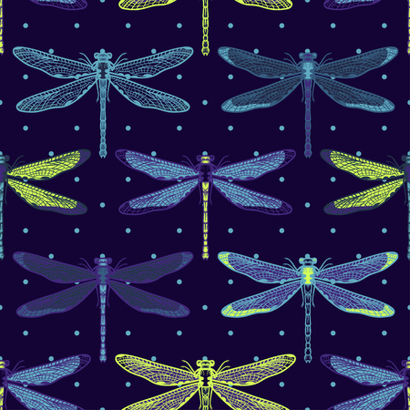 Hand drawn stylized dragonflies seamless pattern for girls, boys, clothes. Creative background with insect. Funny wallpaper for textile and fabric. Fashion style. Colorful bright