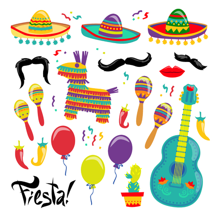 Cinco de Mayo Vector Set Of Fiesta Elements. Mexican Attributes Sombreros, a Guitar, Cactus and decoration. Vector illustration. For sticker or your poster design.