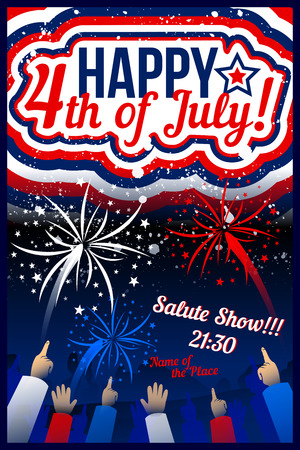 USA Independence day banners set with fireworks. American day. Bright Poster