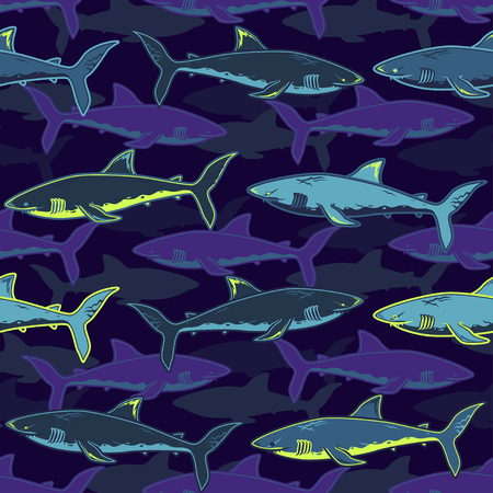 Abstract seamless vector pattern for girls, boys, clothes. Creative background with sharks. Funny wallpaper for textile and fabric. Fashion style. Colorful bright  イラスト・ベクター素材