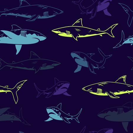 Abstract seamless vector pattern for girls, boys, clothes. Creative background with sharks. Funny wallpaper for textile and fabric. Fashion style. Colorful bright