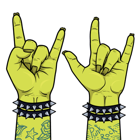 Element for Punk Rock festival poster or halloween party. Rock and Roll zombie hand sign. Illustration