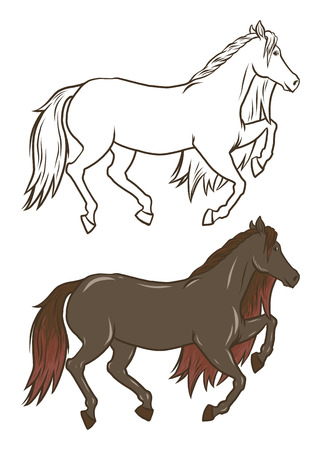 Vector and Drawn doodle horse. Coloring card and shirt art for girl isolated on white. outline and color