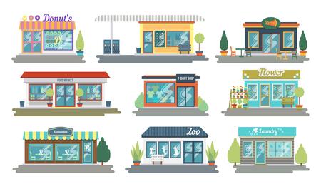 Conjunto de iconos de fachada de restaurantes y tiendas de diseño plano vectorial. Incluye tienda de donas y dulces, tienda de ropa, floristería, repostaje, lavandería y otros. Ilustración de vector