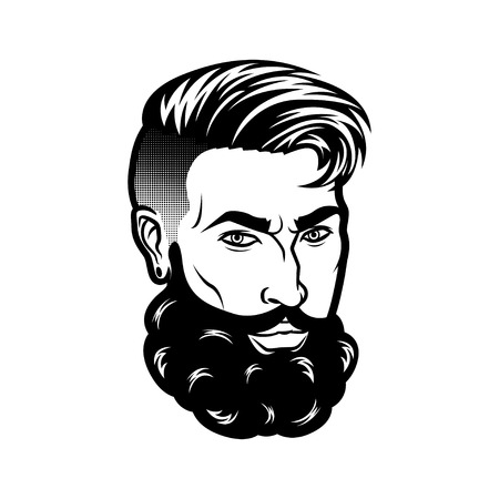 Vector bearded men face hipster head with haircuts, mustaches and beards. For Silhouettes or avatars, emblems and icons, labels.
