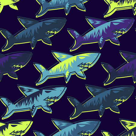 Abstract seamless vector underwater pattern for girls, boys, clothes. Creative background with sharks. Funny wallpaper for textile and fabric. Fashion style. Colorful bright. Illustration