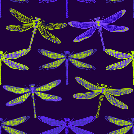 Hand drawn stylized dragonflies seamless pattern for girls, boys, clothes. Creative background with insect. Funny wallpaper for textile and fabric. Fashion style. Colorful bright. 向量圖像