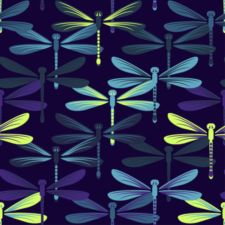 Hand drawn stylized dragonflies seamless pattern for girls, boys, clothes. Creative background with insect. Funny wallpaper for textile and fabric. Fashion style. Colorful bright. Illusztráció