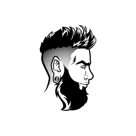 Les hommes barbus de vecteur font face à la tête de hipster de profil avec des coupes de cheveux, des moustaches et des barbes. Pour les silhouettes ou les avatars, les emblèmes et les icônes, les étiquettes.