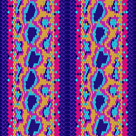 struttura Modello di vettore senza soluzione di continuità di pelle di serpente per ragazze, ragazzi, vestiti. . Struttura senza giunte del rettile. Impronta animale. Carta da parati divertente per tessuti e tessuti. Fashion style. Luminoso colorato.