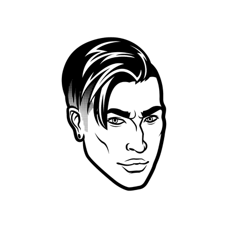 Vector men face hipster head with haircuts. For avatars, emblems and icons, labels.