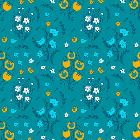 Vector colorful Hand drawn stylized floral seamless pattern for girls clothes. Funny wallpaper for textile and fabric. Fashion style. Colorful bright