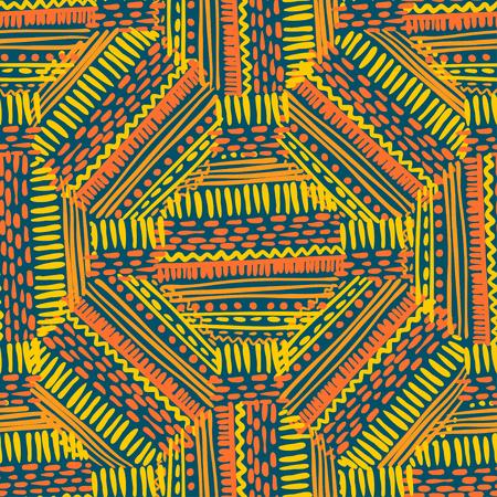 Modèle de tissu artisanal abstrait style Ikat et boho. Conception ethnique traditionnelle pour les vêtements et le fond textile, le tapis ou le papier peint