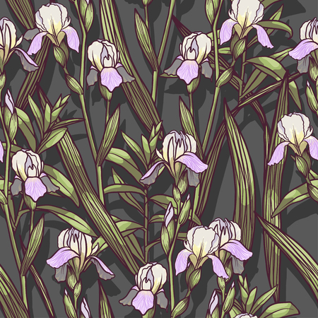 Hand Drawn Irises flowers vector seamless pattern flowered background of botany texture. Trendy Graphic Design for banner, poster, card, cover, invitation, placard, brochure or header.
