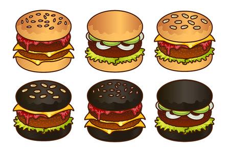 Black and white Burger food icon set. Cartoon hand draw set of burger for web design, menu, game