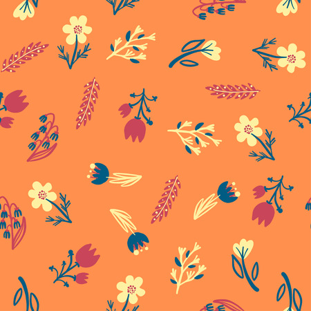 Hand Drawn pattern with summer flowers and herbs vintage Hohloma floral elements, wallpaper for girl. Blue Yellow on white