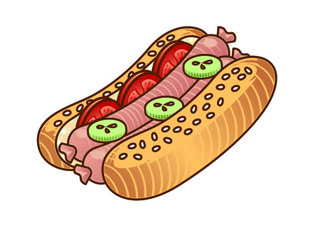 Hot Dog food icon. Cartoon hand draw illustration of Hot Dog isoleted on white. Fast food element for web design, menu, game