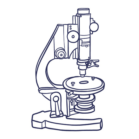 Microscope icon. Hand drawn contour line illustration of microscope vector icon for web design. Isoleted on white background.