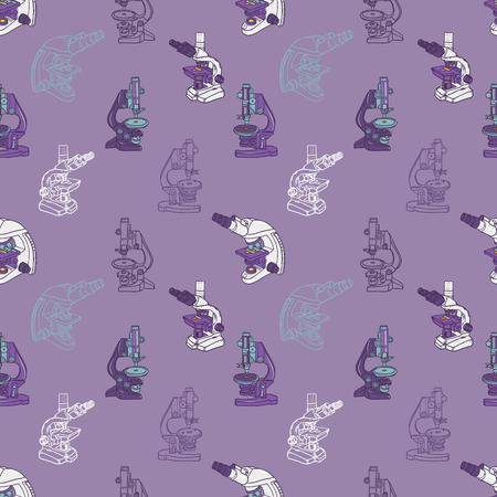 color hand drawn seamless vector pattern with Microscope icon Science elements. Wallpaper for girls, boys, clothes. Creative background for textile and fabric. Fashion style. Ilustração