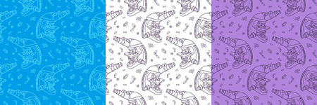 Set of color hand drawn seamless vector pattern with Microscope icon Science elements. Wallpaper for girls, boys, clothes. Creative background for textile and fabric. Fashion style. Ilustração