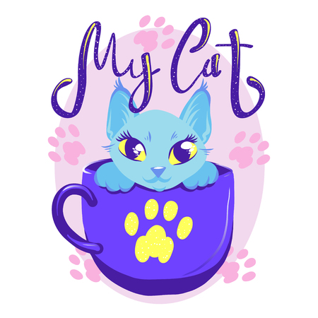 Cute cat in cup color vector illustration. Pink kitty with handwritten glitter lettering. Girl cat with big eyes and paws on color background. Greeting card template for cat-owners. Ilustração