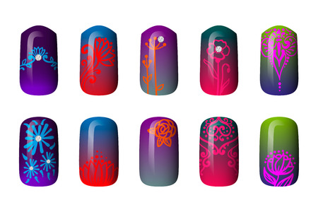set of colored painted nail stickers. manicure art. nail polish. isolated on a white background.
