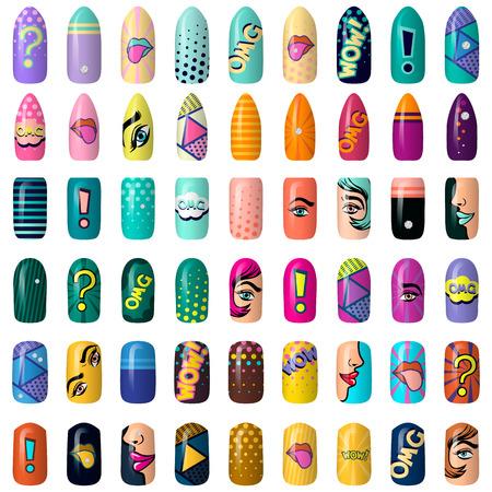 zestaw kolorowych naklejek na paznokcie malowane w stylu pop-art. sztuka manicure. Neonowy lakier do paznokci. na białym tle na ciemnym tle.