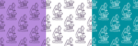Set of color hand drawn seamless vector pattern with Microscope icon Science elements. Wallpaper for girls, boys, clothes. Creative background for textile and fabric. Fashion style. Illustration