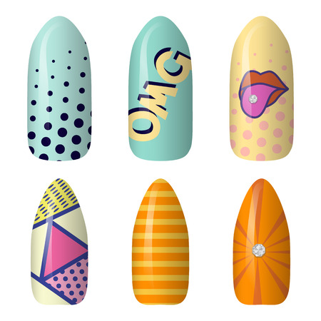 set of colored painted pop art nail stickers. manicure art. Neon nail polish. isolated on a dark background.