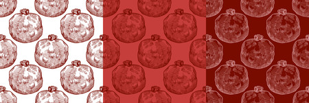 color hand drawn seamless vector pattern with pomegranate with seeds for girls, boys, clothes. Creative background with Doodle healthy food Funny wallpaper for textile and fabric. Fashion style.
