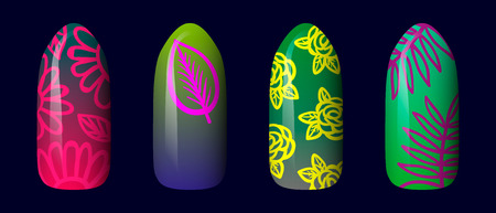 set of colored painted neon nail stickers. manicure art. nail polish. isolated on a dark background. Çizim