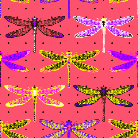 Hand drawn stylized dragonflies seamless pattern for girls, boys, clothes. Creative background with insect. Funny wallpaper for textile and fabric. Fashion style. Colorful bright. Stock Illustratie