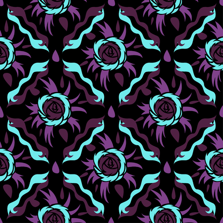 Abstract seamless vector pattern for girls, boys, clothes. Creative background with roses figures. Funny wallpaper for textile and fabric. Fashion style. Colorful bright.