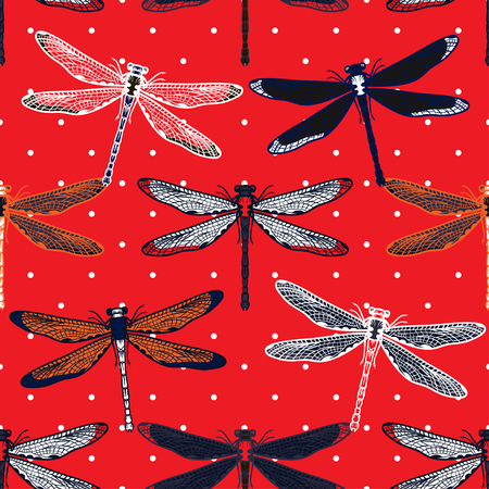 Hand drawn stylized dragonflies seamless pattern for girls, boys, clothes. Creative background with insect. Funny wallpaper for textile and fabric. Fashion style. Colorful bright. Ilustração