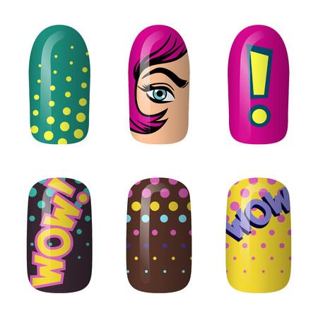 Set aus farbig bemalten Pop-Art-Nagelaufklebern. Maniküre Kunst. Neon-Nagellack. auf dunklem Hintergrund isoliert. Vektorgrafik