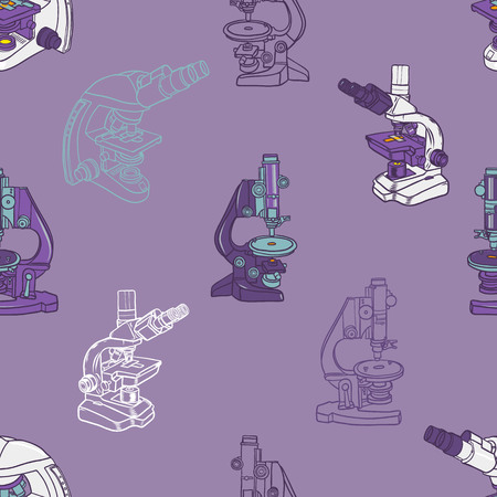 color hand drawn seamless vector pattern with Microscope icon Science elements. Wallpaper for girls, boys, clothes. Creative background for textile and fabric. Fashion style. Illustration