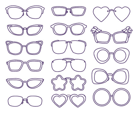 Hand drawn summer illustration sketch style Sunglasses icon set. Simple Doodle vector icon for web design isolated on white background.