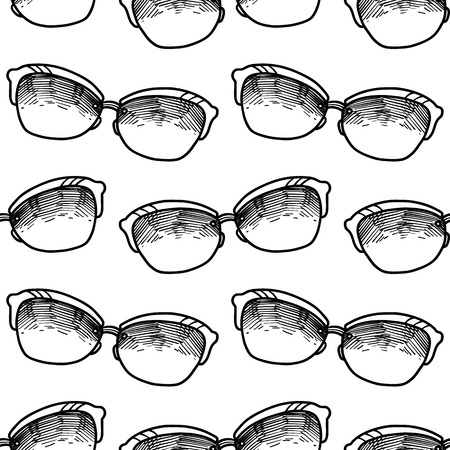 hand drawn seamless vector pattern with Sunglasses for girls, boys, clothes. Creative background with Doodle summer wallpaper for textile and fabric. Fashion style. Stock Illustratie