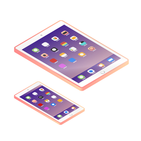 Cell phone. Flat Mobile, tablet pc computer device. Modern technologies of communication and management. Pink smartphone with UI icons. Touchscreen display. Vector illustration.
