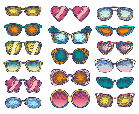 Hand drawn summer color illustration sketch style Sunglasses icon set. Simple Doodle vector icon for web design isolated on white background. Ilustração