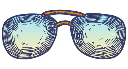 Hand drawn summer illustration sketch style Sunglasses icon Simple Doodle vector icon for web design isolated on white background. Fashion vintage element.